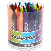 Lápices de cera ColorTime, L. 10 cm, grosor 11 mm, surtido de colores, 48 ud/ 1 paquete