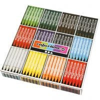 Lápices de cera ColorTime, L. 10 cm, grosor 11 mm, surtido de colores, 12x24 ud/ 1 paquete
