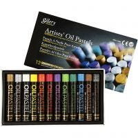 Pasteles al óleo, L. 7 cm, grosor 11 mm, colores metálicos, 12 ud/ 1 paquete