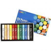Mungyo Gallery Oil Pastel, L. 7 cm, grosor 11 mm, surtido de colores, 12 ud/ 1 paquete