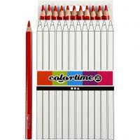 Lápices de colores Colortime, L. 17,45 cm, mina 5 mm, JUMBO, rojo, 12 ud/ 1 paquete