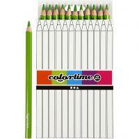 Lápices de colores Colortime, L. 17,45 cm, mina 5 mm, JUMBO, verde claro, 12 ud/ 1 paquete