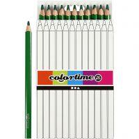 Lápices de colores Colortime, L. 17,45 cm, mina 5 mm, JUMBO, verde, 12 ud/ 1 paquete