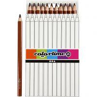 Lápices de colores Colortime, L. 17,45 cm, mina 5 mm, JUMBO, marrón, 12 ud/ 1 paquete