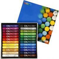 Mungyo Gallery Oil Pastel, L. 7 cm, grosor 11 mm, surtido de colores, 24 ud/ 1 paquete