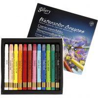 Crayones de acuarela, L. 9,3 cm, surtido de colores, 12 ud/ 1 paquete
