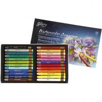 Crayones de acuarela, L. 9,3 cm, surtido de colores, 24 ud/ 1 paquete