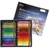 Crayones de acuarela, L. 9,3 cm, surtido de colores, 36 ud/ 1 paquete