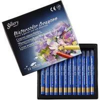 Crayones de acuarela, L. 9,3 cm, azul cobalto (338), 12 ud/ 1 paquete