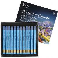 Crayones de acuarela, L. 9,3 cm, azul cielo, 12 ud/ 1 paquete