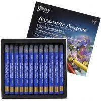 Crayones de acuarela, L. 9,3 cm, azul ultramarino , 12 ud/ 1 paquete