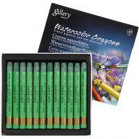 Crayones de acuarela, L. 9,3 cm, verde cadmio (345), 12 ud/ 1 paquete