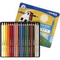 Super Ferby 1 lápices de colores, L. 18 cm, mina 6,25 mm, surtido de colores, 18 ud/ 1 paquete