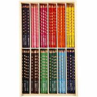 Lápices de colores con surco delgados, L. 18 cm, mina 3,3 mm, surtido de colores, 12x12 ud/ 1 paquete