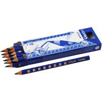 Lápiz de grafito con surcos, dia: 10 mm, dureza B, mina 4,25 mm, 12 ud/ 1 paquete
