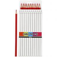 Lápices de colores Colortime, L. 17 cm, mina 3 mm, rojo, 12 ud/ 1 paquete