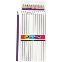 Lápices de colores Colortime, L. 17 cm, mina 3 mm, morado, 12 ud/ 1 paquete