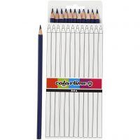 Lápices de colores Colortime, L. 17 cm, mina 3 mm, azul oscuro, 12 ud/ 1 paquete