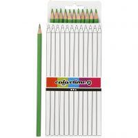 Lápices de colores Colortime, L. 17 cm, mina 3 mm, verde claro, 12 ud/ 1 paquete