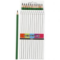 Lápices de colores Colortime, L. 17 cm, mina 3 mm, verde, 12 ud/ 1 paquete