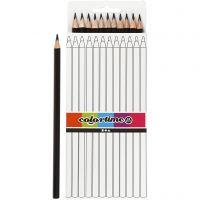 Lápices de colores Colortime, L. 17 cm, mina 3 mm, negro, 12 ud/ 1 paquete