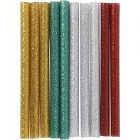 Barras de pegamento , L. 10 cm, purpurina, dorado, verde, rojo, plata, 10 ud/ 1 paquete