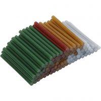 Barras de pegamento , L. 10 cm, dia: 7 mm, purpurina, dorado, verde, rojo, plata, 100 ud/ 1 paquete