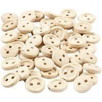 Botones de madera, dia: 8 mm, 2 agujeros, 50 ud/ 1 paquete