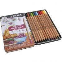 Lápices de acuarela Lyra Rembrandt, surtido de colores, 12 ud/ 1 paquete