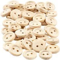 Botones de madera, dia: 11 mm, 2 agujeros, 50 ud/ 1 paquete