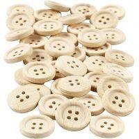 Botones de madera, dia: 18 mm, 4 agujeros, 40 ud/ 1 paquete