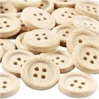 Botones de madera, dia: 23 mm, 4 agujeros, 30 ud/ 1 paquete