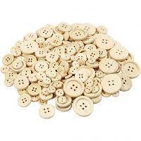 Botones de madera, dia: 8+11+15+18+23 mm, 440 ud/ 1 paquete