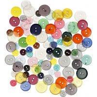 Botones , dia: 12+18+20 mm, surtido de colores, 100 ud/ 1 paquete, 50 gr