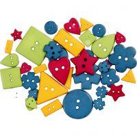 Botones con forma, dia: 8-18 mm, medida agujero 2 mm, colores fuertes, 37 ud/ 1 paquete