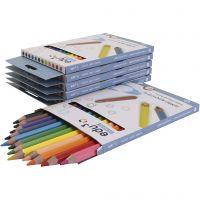 Lápices jumbo de colores Edu, grosor 10 mm, mina 5 mm, surtido de colores, 72 ud/ 1 paquete