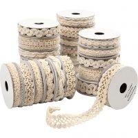 Cinta decorada, A: 6-18 mm, crema, 56x0,9 m/ 1 paquete