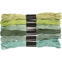 Hilo para bordar, grosor 1 mm, verde purpurina, 6 fajo/ 1 paquete