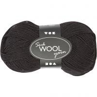 Lana para tejer , L. 200 m, negro, 50 gr/ 1 bola