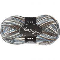 Lana para tejer , L. 200 m, azul/gris harmonía, 50 gr/ 1 bola