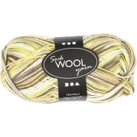 Lana para tejer , L. 200 m, verde, amarillo, 50 gr/ 1 bola