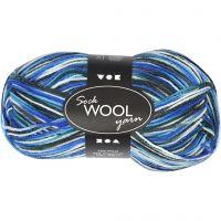 Lana para tejer , L. 200 m, azul/turco harmonía, 50 gr/ 1 bola