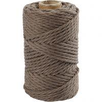 Cuerda de macramé, L. 55 m, dia: 4 mm, marrón claro, 330 gr/ 1 rollo
