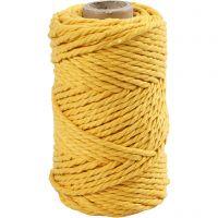 Cuerda de macramé, L. 55 m, dia: 4 mm, amarillo, 330 gr/ 1 rollo