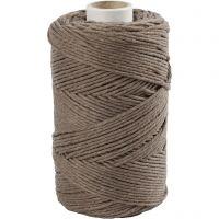 Cuerda de macramé, L. 198 m, dia: 2 mm, marrón claro, 330 gr/ 1 rollo
