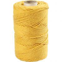 Cuerda de macramé, L. 198 m, dia: 2 mm, amarillo, 330 gr/ 1 rollo