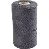 Cuerda de macramé, L. 198 m, dia: 2 mm, gris, 330 gr/ 1 rollo