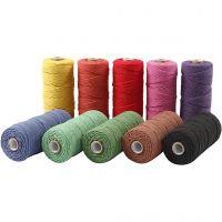 Hilo de algodón , L. 315 m, grosor 1 mm, Calidad fina 12/12, colores fuertes, 10x220 gr/ 1 paquete