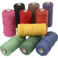 Hilo de algodón , L. 100 m, grosor 2 mm, Calidad gruesa 12/36, colores fuertes, 10x225 gr/ 1 paquete