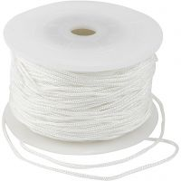 Cuerda poliéster, grosor 2 mm, blanco, 50 m/ 1 rollo